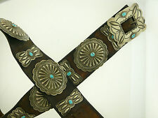 Navajo Old Pawn Concho Belt Sterling Silver Turquoise Original Leather 60's ish