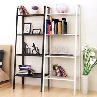 "4-Tier 110LB 58"" Bookcase Bookshelf Leaning Wall Shelf Shelving Ladder Storage"