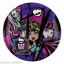 8 Monster High 2 Festa Gotico Nero Piccolo 18 cm Carta usa e getta PIASTRE
