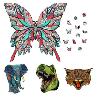 Wooden Jigsaw Puzzle Unique New Animal Shape Jigsaw Pieces Adults Kids Toy Gifts