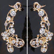CLIP ON 2pcs EAR CUFFS PAIR crystal gothic fairy EARRINGS GOLD TONE rhinestone