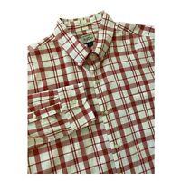 Mens J Crew Slim Fit XL Button Down Long Sleeve Shirt Red White Plaid Check
