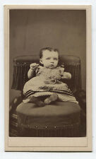 CDV BABY ON POSING CHAIR, PARENT HIDING TO HOLD BABY STILL. SCRANTON, PA.
