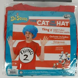 Dr Seuss Cat In The Hat Adult Halloween Costume Thing  2 T-Shirt Blue Wig L/XL