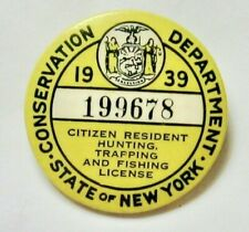 1939 New York State Hunting, Trapping and Fishing License Button