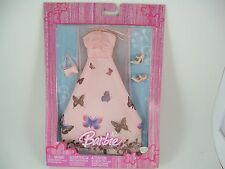 Barbie Doll Fashion Outfit Gown Pink with Butterfly, Shoes, Wrap, Bag, NIP NEW