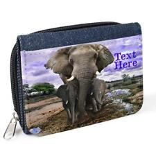 Personalised Ladies Purse ELEPHANT Denim Coin Her Mum Gift Birthday KS09