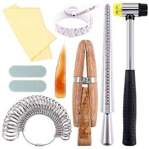 12Pcs Schmuck Ring Sizer Werkzeuge Set, Ring Dorn, Ring Sizer, Holz Ring Cl Q9I2
