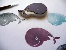 Sello de goma de ballena tallado a mano, bebé ballena, Cumpleaños recortes, sello de mar