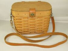 Longaberger Tall Basket Purse Signed 1996 Leather Long Strap & Protector