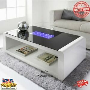 🇬🇧 High Gloss infinity Coffee Table White LED Coffee table New ✅ Free P&P 🚛