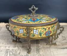 More details for antique french bronze and champleve enamel pot, chinoiserie