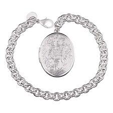 """Unique & Elegant Pure 925 Sterling Silver Oval Shape Locket 8"""" Bracelet #008"""