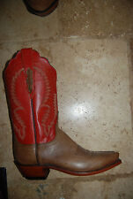 New Brick Red & Brown Leather LUCCHESE 1883 Western Style Pointy Toe Boots 6 B