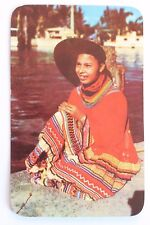 Postcard INDIAN MAID AT MUSA ISLE INDIAN VILLAGE, MIAMI, FLORIDA