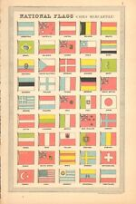 1930  SMALL VINTAGE MAP -  NATIONAL FLAGS, MERCANTILE