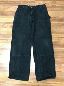 MENS 36 x 32 - Carhartt B01 Duck Double Knee Dungaree Fit Black Pants USA