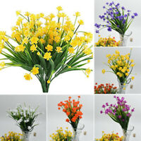 Artificial Fake Flowers Rose Daffodils Shrubs Bouquet Floral Wedding Home Decor