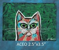 Original ACEO - Cat - miniature acrylic painting, not framed