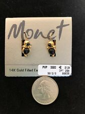 New Monet 14K Gold Filled Earwires Black Bead Gold Tone Orig Card New Old Stock