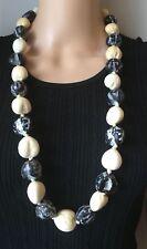 "Hawaiian Kukui Nut Necklace Lei Black White Cream 32"""