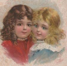 Original McLoughlin Chromolith Print~2 Sweet Little Girls~ From a Book 1899 ~VG