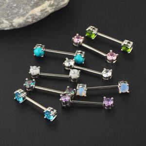 Pair Surgical Steel Nipple Bar Ring Opal Zircon Shield Body Piercing Jewellery