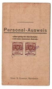 Personal Ausweis Rheinhausen Gebührenmarke 1934 !