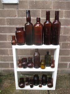 20 Old Vintage Glass Chemist Kitchen Bottles SMOOTH LIP Vases JOB LOT 6-14cm