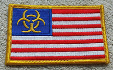 UNITED STATES OF AMERICA BIOHAZARD SIGN FLAG PATCH Embroidered Badge 6x9cm USA
