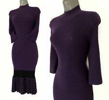 Karen Millen KM 1 Purple Polo Neck Skinny Fit 3/4 Sleeve Midi Knit Dress UK 8/10