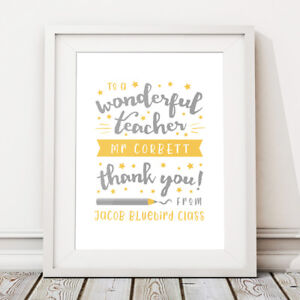 Wonderful Teacher Thank You Gift Personalised Print End of School Term Class
