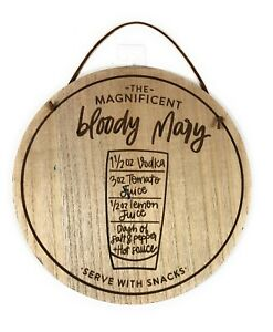 """The Magnificent Bloody Mary Wooden Sign 9"""" dia for Kitchen Den Man Cave [HO1]"""