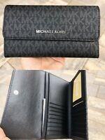 Michael Kors Jet Set Travel Large Trifold Wallet Black Signature MK