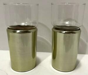 """2 VINTAGE ANODIZED ALUMINUM INSULATED BARWARE GLASSES GOLD 5.75"""""""