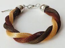 Armband Kordel Schlauchkette Flechtarmband Mesh tricolor khaki gold braun silber