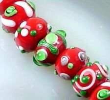 Lampwork Glass Rondelle Beads Christmas Color VIII (5)