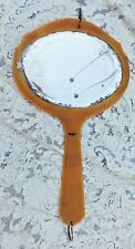 Large Victorian Beveled Hanging Celluloid Hand Mirror With Jeweled Ring Attached