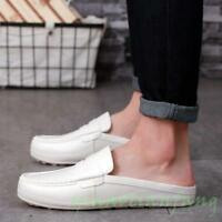 New Men Driving Shoes Gommino Slip On Round Toe Casual Loafer Mule Half  Slipper