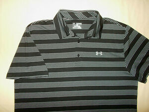 UNDER ARMOUR SHORT SLEEVE BLACK & GRAY STRIPED POLO SHIRT MENS 2XL EXCELLENT