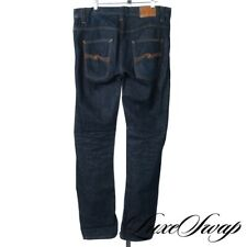Nudie Made in Italy Hank Rey Recycled Dry Indigo Raw Rinse Denim Jeans 32 / 34
