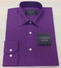 MENS PLAIN PURPLE REGULAR COLLAR LONG SLEEVE DRESS SHIRT 15 , 17 1/2 , 18