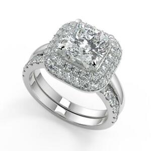 1.95 Ct Cushion Cut Double Halo Diamond Engagement Ring Set SI1 F White Gold 18k