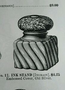 Antique desk accessories 1892 ad silver plate Ink Stand ornate design frame +