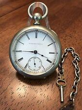 1880 Elgin 11j Key Wind Pocket Watch 18s Keystone Silveroid Case Wild West Runs