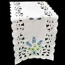 "Embroidered Blue Bonnet Table Runner or Dresser Scarf 16"" x 45"""