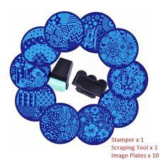 10 SET NAIL ART STAMPING PLATES STAMP SCRAPER IMAGE POLISH TEMPLATE PRINTING