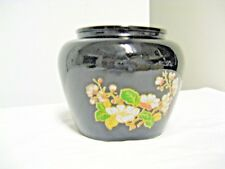 Older AVON #12 Marked Black Glass Squat Vase-Floral Motif