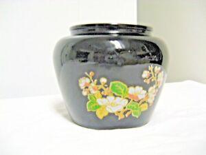 Older AVON #12 Marked Black Glass Squat Vase-Floral Motif
