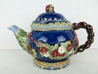 "Vintage Majolica Style Teapot Asian Raised Blossom Flowers Clay Ceramic 6""x 9.5"""